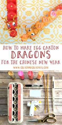 Chinese New Year Craft - Egg Carton Dragon - Creating Creatives - - rawr. Happy Chinese New Year, Chinese New Year Traditions, Chinese New Year Cookies, Chinese New Year Crafts For Kids, Chinese New Year Dragon, Chinese New Year Activities, Chinese New Year Party, Chinese New Year Design, Chinese New Year Decorations