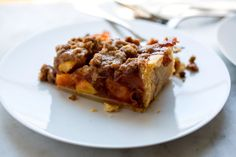 Peach Crumble Slab Pie; Melissa Clark NYT.  13x9, so lots of pie.  MIght want to add some cherries to the filling and/or oats to the topping.