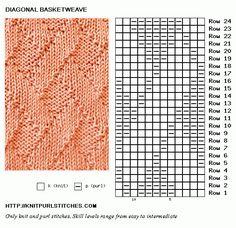 Diagonal Basketweave | Knit - Purl stitches