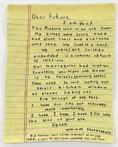SIMON EVANS  Letter To The Future, 2011  Hand-stitched embroidery  9 1/2 X 11 3/4 inches