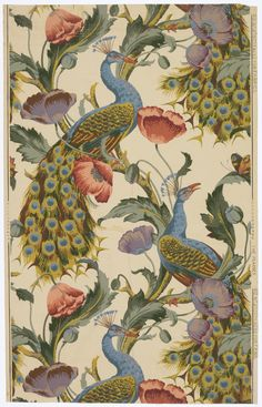 "Sidewall, ""The Peacock"", UK, ca. 1890 - Collection of Smithsonian Cooper-Hewitt, National Design Museum Peacock Wallpaper, Chinoiserie Wallpaper, Fabric Wallpaper, Pattern Wallpaper, Vintage Wallpaper Patterns, Fleurs Art Nouveau, Art Chinois, Arts And Crafts, Paintings"