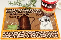 Quilted Mug Rug, Coffee themed Mug Rug, Quilted Snack Mat, Beverage Mat Small Mats, Mug Rug Patterns, Dog Quilts, Coffee Theme, Table Runner And Placemats, Fabric Rug, Small Quilts, Mug Rugs, Hot Pads