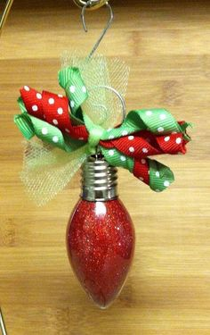 Light Bulb Glitter Ornament. Love the ribbon bits on top-probably use cheap clear ornaments!