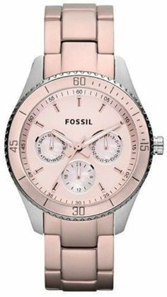 Fossil Stella Aluminum and Stainless Steel Watch Blush Fossil. $90.00. Water Resistance : 5 ATM / 50 meters / 165 feet. Pink Steel Bracelet Strap. Chronograph Display