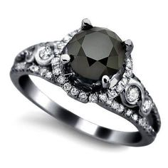 Black Diamond Vintage Engagement Ring | From Blog: 25 Black Diamond Engagement Rings via