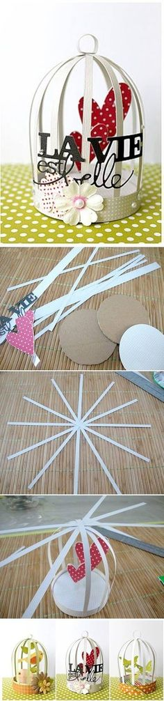 How To Make Mini Decorative Cage. This would be a cool idea to do for a garland in a kids room.: