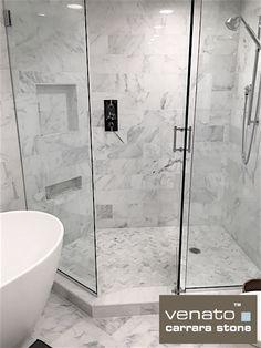 "Carrara Venato 6x12"" Subway Tile Field Tile $8.00 a Square Foot. Inside the shower on the floors is the 1x3"" Herringbone Tile Honed $11.45 a Square Foot Mosaic. #Carrara #carrarabathroom"