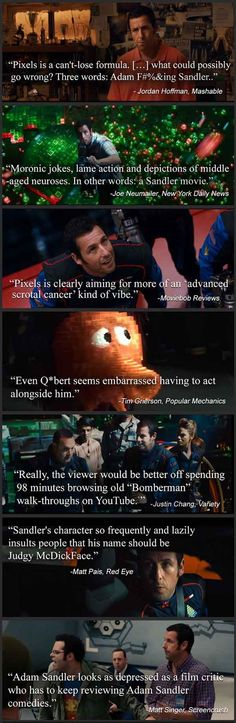"""When the review quotes for Adam Sandler's """"Pixels"""" are funnier than the movie."""