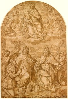 Marco Pino | ca. 1520-ca. 1579 | Virgin and Child Surrounded by Angels, Adored by Two Bishop Saints and a Donor in Armor | The Morgan Library & Musuem