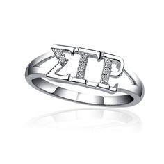 Sigma Gamma Rho Horizontal Silver Ring SGR-R001 by KingGreekInc