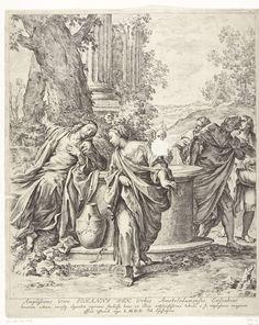 Jan de Bisschop | Christus en de Samaritaanse vrouw, Jan de Bisschop, Jan Six (1618-1700), 1669 | Christus zit bij een bron en vraagt aan een Samaritaanse vrouw of ze hem water kan geven. Op de achtergrond zijn zijn apostelen te zien.