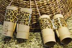 Binoculars out of toilet paper tubes for preschool or a safari-themed party.