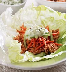 Crock-Pot Buffalo Chicken Lettuce Wraps..Servings: 6; calories: 147.7; fat: 0.1g; carbs: 5.2g; fiber: 1.6g; protein: 24.9g; sugars: 1.7g; sodium: 879mg...Sue 2013