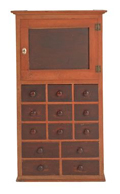 Rare Shaker miniature hanging cupboard with drawers, ca. 1860, Canterbury, New Hampshire