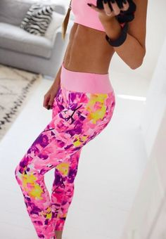 pink purple floral leggings. women fashion clothing style apparel @roressclothes closet ideas