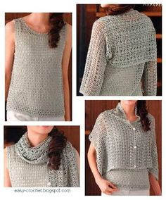 One piece, wear it different ways <3<3<3 Crochet Shrug 1  Clever!  Very difficult to read charts-Japanese. But great inspiration!