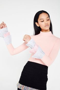 Turtle Neck Top With Ruffle Cuffs