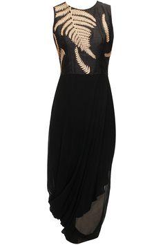 Black fern embroidered draped dress by Nachiket Barve. Shop now: www.perniaspopups.... #dress #designer #nachiketbarve #elegant #clothing #shopnow #perniaspopupshop #happyshopping