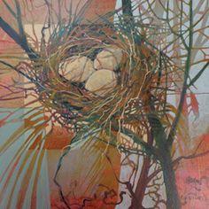 "Judith Bergerson, Nest IV, 12""x 12"", acrylic on canvas"