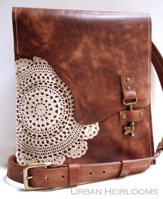Leather Boho Messenger Bag with Antique Key and Crochet Lace - Large Deluxe Hanging Key Style Made To Order