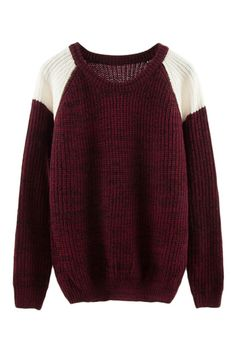 Color Block Knitted Casual Jumper