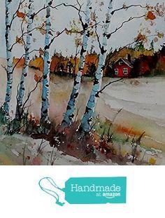 ORIGINAL painting watercolor painting original WATERCOLOR Birch Trees from Maine ARTist http://www.amazon.com/dp/B0178NSTRC/ref=hnd_sw_r_pi_dp_cT6twb067HS86 #handmadeatamazon