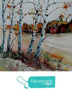 ORIGINAL painting watercolor painting original WATERCOLOR Birch Trees from Maine ARTist http://www.amazon.com/dp/B0178NSTRC/ref=hnd_sw_r_pi_dp_cT6twb067HS86 #handmadeatamazon