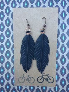 Copper Wire-Wrapped Feather Earrings Made from by maybirdjewelry