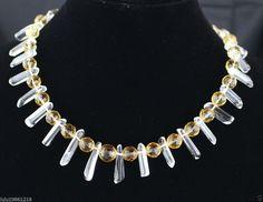 Citrine and White Crystal Women's Statement Necklace Gemstone Fashion Jewelry #Handmade #Statement