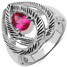 Pink Cubic Zirconia .925 Sterling Silver Heart Shape Ring Johareez.com