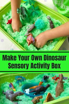 Learning: Dinosaur Sensory Gelli Baff Activity Box - Kids education and learning acts Dinosaurs Preschool, Dinosaur Activities, Sensory Activities, Infant Activities, Sensory Play, Toddler Preschool, Toddler Crafts, Preschool Activities, Baby Room Activities