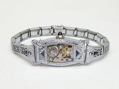 Steampunk Bracelet Art Deco watch movement white gold filled filigree sapphire (1) #steampunkbracelet #steampunkjewelry #clockwork