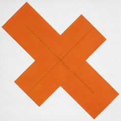 Robert Mangold   X Within X Orange, 1981  Despite the restraint of Robert Mangold's minimalist, geometry-based painting, his work is perceptually elusive and retains a contemplative sensibility. Born in North Tonawanda, New York in 1937, Mangold studied at the Cleveland Art Institute from 1956 to 1959.  #art #contemporary #minimalist
