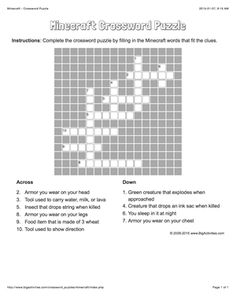 This crossword puzzle features Minecraft words to solve that fit the clues provided. The crossword puzzle is printable and the puzzle changes each time you visit. Puzzles For Kids, Activities For Kids, Minecraft Activities, Crossword Puzzles, Arno, 8th Birthday, Words, House Ideas, Lips