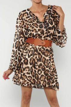 Leopard Belted Dress V-Neck Flare Sleeves S M L New Animal Print #Fashion #Style #Leopard #Dress #Glam #Dress