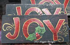 Joy Sign ~ $1 or less! I reused a wood plank and paints I already own!