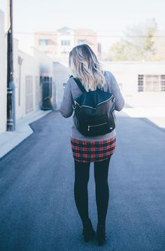 Plaid layers and the cutest diaper bag! Maternity outfit from www.theredclosetdiary.com || Instagram: jalynnschroeder