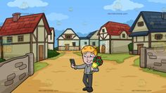 A Man Taking A Selfie With A Bouquet Of Flowers At A Small Medieval Village:  A man with blonde hair wearing a gray dress shirt dark gray pants and black shoes grins while carrying a bouquet of red flowers with green accent and wrapped in a yellow paper as he extends his right arm to take a selfie of him using the gray cellphone in his right hand. Set in a village with brick walls tall houses with red and blue roofing patches of green grass and beige soil roads.