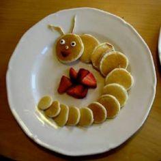 Mini pancakes caterpillar