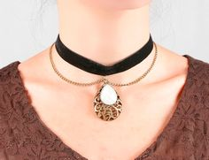 SALE black velvet choker necklace  vintage bronze by LaceFancy
