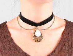 SALE black velvet choker necklace  vintage bronze by LaceFancy