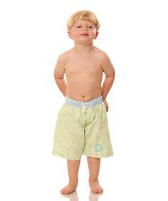 Loving this Green Seersucker Initial Swim Trunks - Infant, Toddler & Boys on #zulily! #zulilyfinds