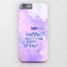 think of the happiest things disney watercolor typography peter pan. phone case, iphone, galaxy.. by studiomarshallgifts on Etsy