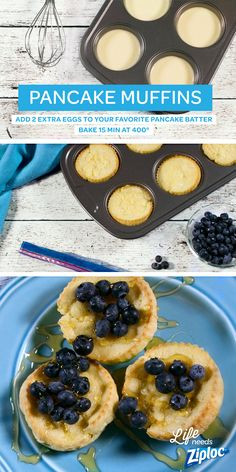 Add a few eggs to your favorite pancake batter, bake in a muffin tray, and you've got the ultimate grab-and-go breakfast. Freeze a bunch in a Ziploc® Freezer bag so you can reheat throughout the week. Tastes great topped with fresh blueberries, apples, or What's For Breakfast, Breakfast Dishes, Breakfast Recipes, Breakfast Options, I Love Food, Good Food, Yummy Food, Cheesecakes, Flan