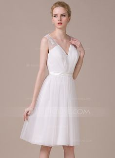 A-Line/Princess V-neck Knee-Length Tulle Wedding Dress With Ruffle Lace Bow(s) (002058773)