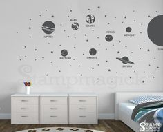 Solar System Wall Decal / Planets Sticker for Nursery or home. Wall art decal features 8 planets, Sun, stars, and asteroids (circles). Great for nursery, office, or home!  Design K431 - Solar System Vinyl Wall Decal  ♥ P R O D U C T - D I M E N S I O N S ♥ Jupiter: (approx.) 8.4 x 8.4 Mercury: (approx.) 3.6 x 3.6 Sun: (approx.) 14 x 18 Whole scene: (approx.) 52h x 90w Please refer to picture for detailed dimensions.  ♥ D E C A L - M A T E R I A L S ♥ We use high-quality commercial-grade ...