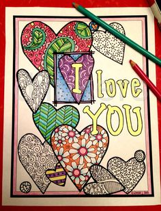 adult coloring, zentangle hearts, heart clip art