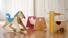 Woodworking plans for a cradle, rocking horse, and desk