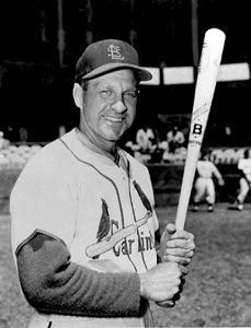 Enos Slaughter with bat
