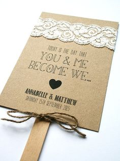 Rustic kraft and lace wedding program fan.